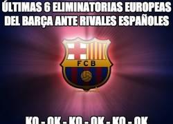 Enlace a Últimas 6 eliminatorias europeas del Barça ante rivales españoles
