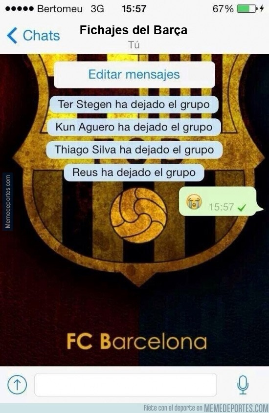 292972 - Así ha quedado el grupo de Whatsapp de los fichajes del Barça