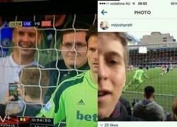 Enlace a Selfie de un aficionado en el penalti de Lampard