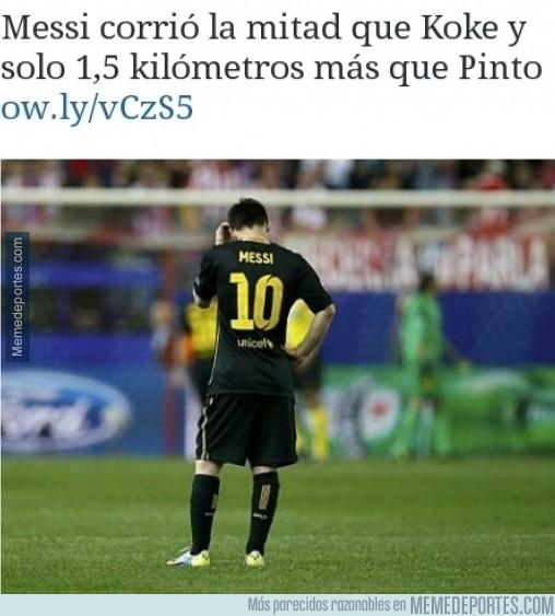 296403 - Esto es lo que ha corrido Messi hoy. Espectacular. Una vergüenza