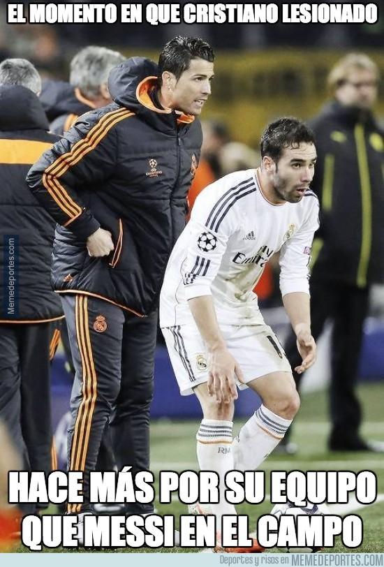 296424 - El momento en que Cristiano lesionado hace más por su equipo que Messi en el campo
