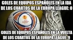 Enlace a Goles de equipos españoles en la ida de los cuartos de la Europa League: 0