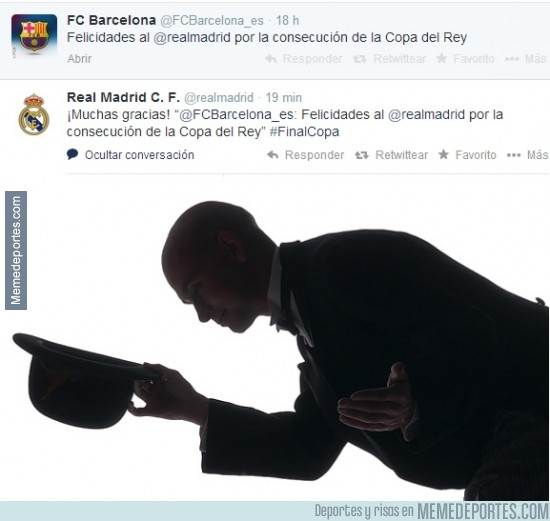 301176 - El FCBarcelona felicita al Real Madrid por la Copa en Twitter y el RealMadrid les agradece el gesto