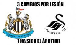 Enlace a 3 cambios por lesión en el Newcastle-Swansea