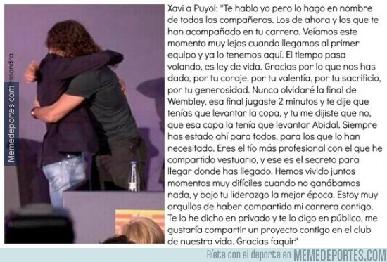 318691 - Emotivas palabras de Xavi a Puyol