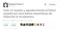 Enlace a Falcao demostrando que no todos los latinoamericanos odian a España