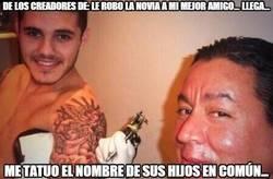 Enlace a Mauro Icardi se tatúa los nombres de los hijos de Wanda y Maxi López... ¿Amor o provocación?