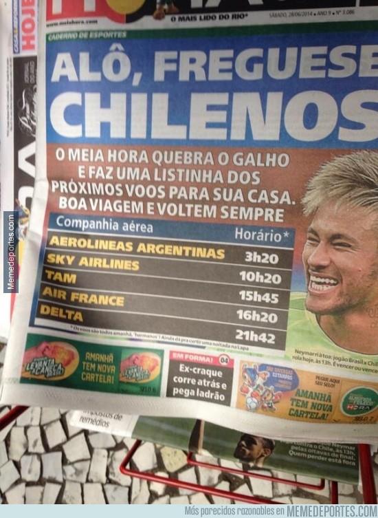 349712 - Prensa brasileña publica los horarios de vuelta a casa de los aviones ¿Mensaje para Chile?