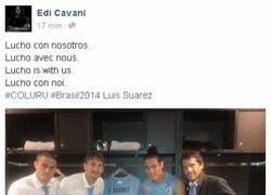 Enlace a Cavani se acuerda de Suárez antes del Colombia-Uruguay