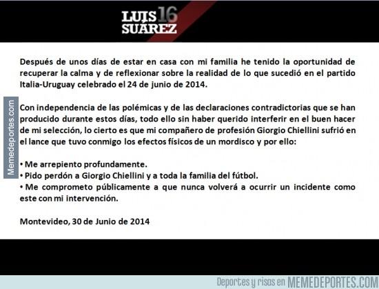351522 - La carta de Luis Suárez pidiendo perdón