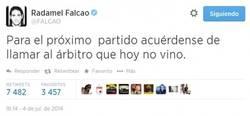 Enlace a Falcao algo resentido en twitter
