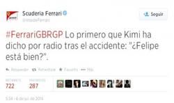 Enlace a Gran gesto de Kimi Raikkonen tras su accidente