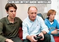 Enlace a Scolari intentando arreglar el partido contra Alemania