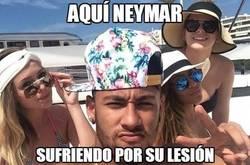 Enlace a Aquí Neymar sufriendo por su lesión