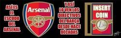 Enlace a Así ve el Barça el escudo del Arsenal