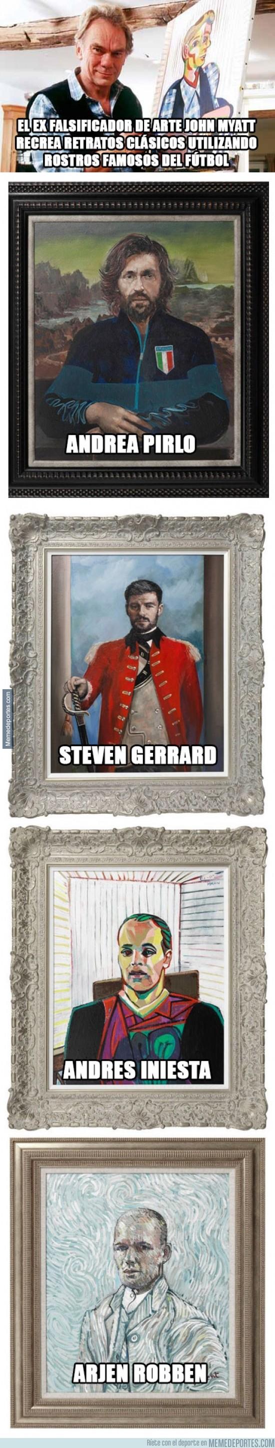 372534 - El ex falsificador de arte John Myatt recrea retratos clásicos utilizando rostros famosos del fútb