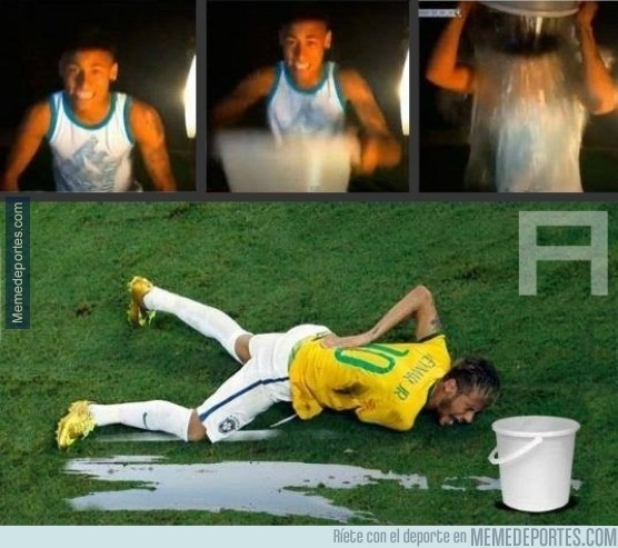 375612 - Neymar tras el reto del cubo de agua