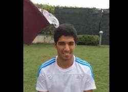 Enlace a GIF: Luis Suárez hace el reto del Ice Bucket Challenge y nomina al TAS