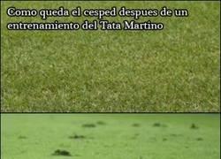 Enlace a Diferencias de cómo quedaba el césped tras entrenar con el Tata Martino y Luis Enrique