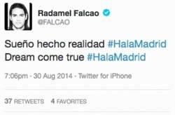 Enlace a ATENCION: Falcao anuncia por twitter su marcha al Madrid y lo borra dos minutos después