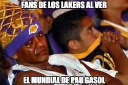 Enlace a Fans de los Lakers al ver el mundial de Pau Gasol