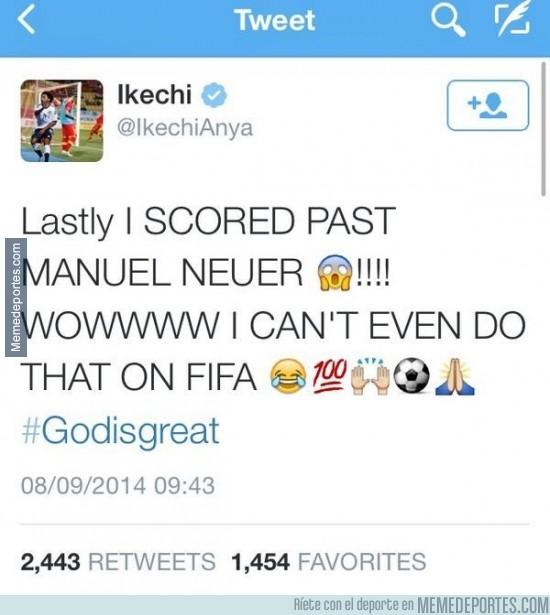 384595 - Ikechi se vuelve loco en twitter por marcar gol a Neuer