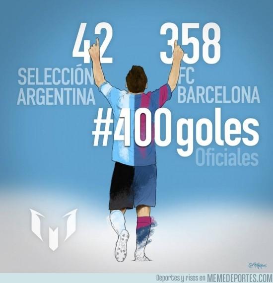 392399 - Foto oficial del gol 400 de Messi