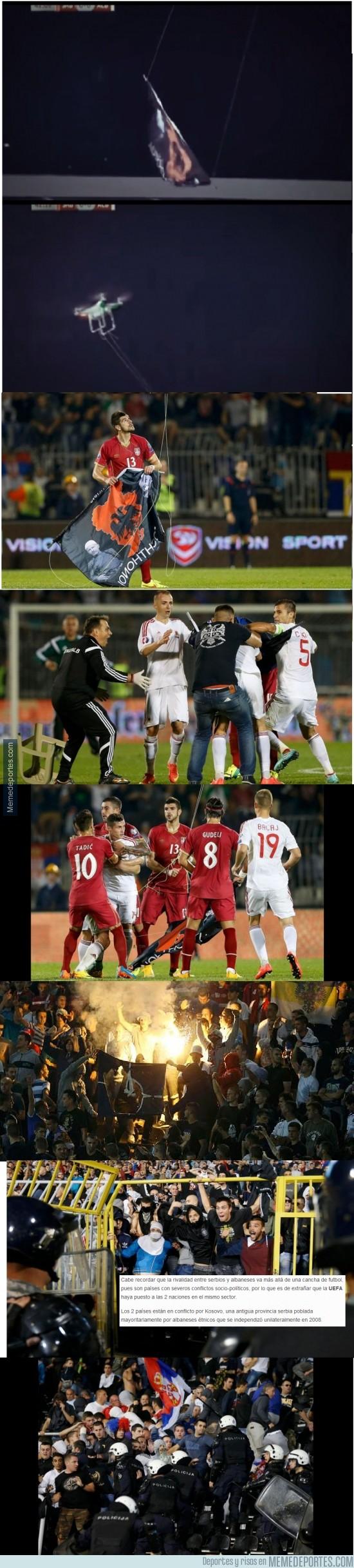 398528 - La que se lió en el encuentro entre Serbia y Albania