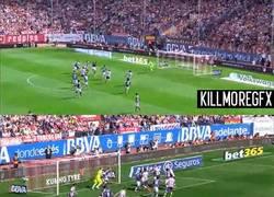 Enlace a GIF: Los dos goles de Atlético. A balón parado nunca falla