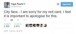 Enlace a Gran gesto de Yaya Touré disculpándose por su expulsión ayer