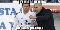 Enlace a Zidane dando instrucciones a su hijo