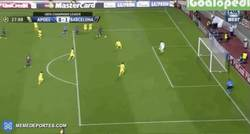 Enlace a GIF: Luis Suárez se estrena con este golazo tras control con caño