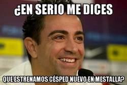Enlace a La cara de Xavi al enterarse de que el domingo se estrena césped nuevo en Mestalla