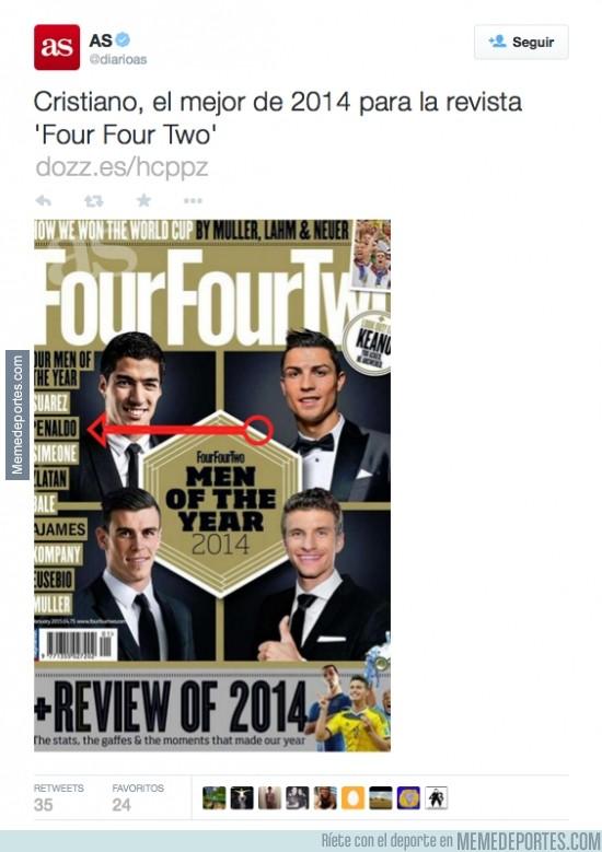 420667 - ¡Brutal! As publica un 'tuit' con imagen de una portada en la que pone Penaldo en vez de Ronaldo