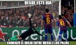Enlace a Messi sigue con su particular batalla con el palo