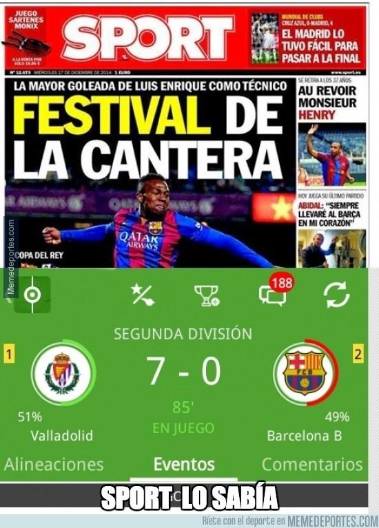 426090 - Sport ya sospechaba de la paliza al Barça B