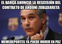 Enlace a El Barça anuncia la rescisión del contrato de Andoni Zubizarreta