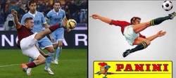 Enlace a Totti haciendo homenaje a Panini. Leyenda
