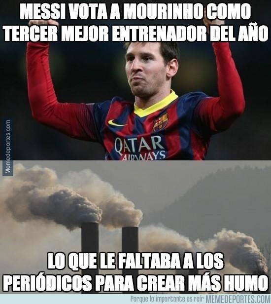 433509 - Messi vota a Mourinho como tercer mejor entrenador del año