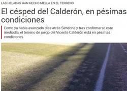 Enlace a El mal estado del Vicente Calderón para esta noche