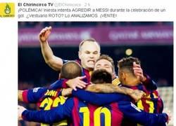 Enlace a Iniesta agrede a Messi durante la celebración del gol