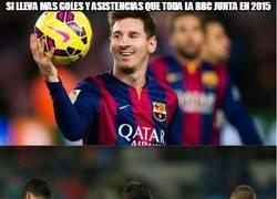Enlace a Si Messi lleva más goles y asistencias que toda la BBC junta en 2015