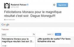 Enlace a El tweet de Falcao y la traducción de lo que realmente quería decir