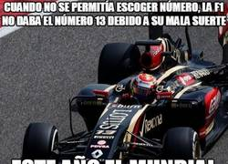 Enlace a Cuando no se permitía escoger número, la F1 no daba el número 13 debido a su mala suerte