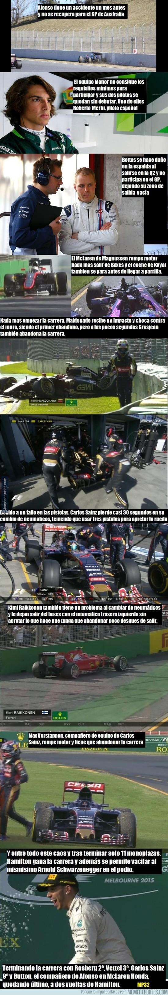 477133 - Resumen de la alocada carrera de Australia de F1 y sus ausencias y abandonos