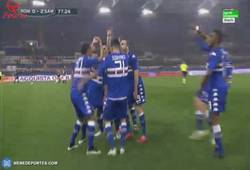 Enlace a GIF: Curiosa celebración de la Sampdoria tras ganar a la Roma contra todo pronóstico