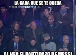 Enlace a La cara de Guardiola flipando con el partidazo de Messi