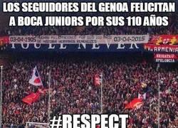 Enlace a Los seguidores del Genoa felicitan a Boca por sus 110 años