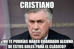 Enlace a Ancelotti al ver tantos goles de Cristiano contra el Granada