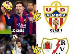 Enlace a Messi y Cristiano vs sus rivales de hoy